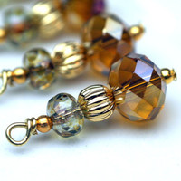 Amber and Czech Picasso Crystals with Goldtone Vintage Style Bead Dangle Charm Drop Set - 4 Pieces