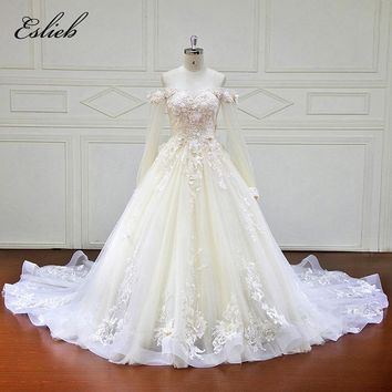 Sweet Boat Neck Princess Design A Line Flower Wedding Dress Full Sleeves Fairy Bodice Zipper Closure Lace Appliques Bridal Gown