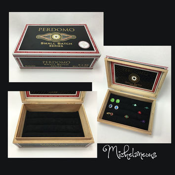 Perdomo Small Batch Cigar Box Jewelry Box Ring Stud Earring & Cuff Link Holder Ring Cufflinks Tie Clip and Jewelry Display by Michelaneous