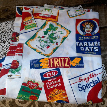 "Vintage Advertising Square Cotton Tablecloth, 54"" x 68"", Soup, Crackers, Quaker Oaks, Cereal, Display, Picnic, General Store"