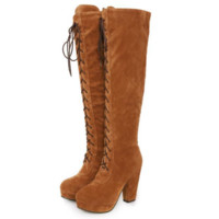Fashion Over the Knee High Martin Women Lace Up Type Boots Thigh High Knight Bootie Shoes