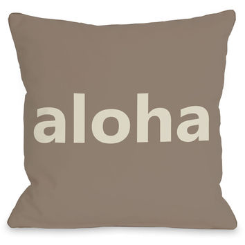 """Aloha"" Outdoor Throw Pillow by OneBellaCasa, 16""x16"""