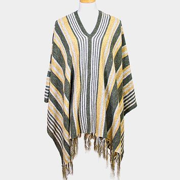 Striped Fringe Edge Poncho Sweater