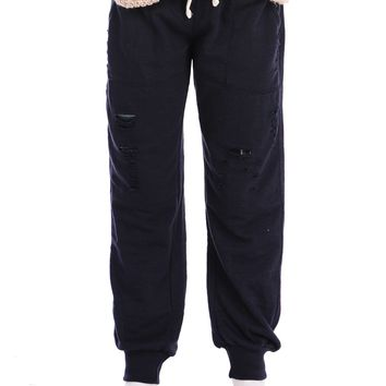 Vintage Havana Ripped Sweatpant with Plaid Backing