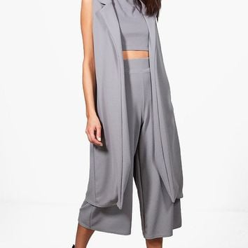 Misa 3 Piece Crop Culotte & Duster Co-Ord Set | Boohoo