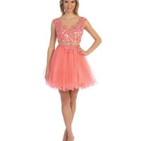 Coral & Nude Illusion Two Piece Dress 2015 Homecoming Dresses