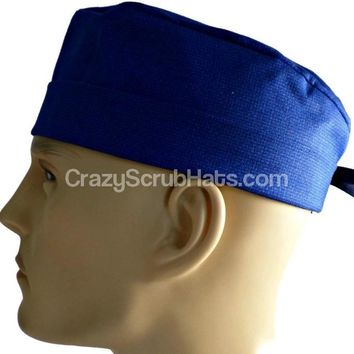 Men's Fold-Up Cuffed or Un-Cuffed Surgical Scrub Hat Cap in Navy Tweed