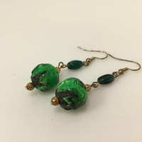 Art glass bead earrings, Green dangle earrings, Up cycled Vintage jewelry