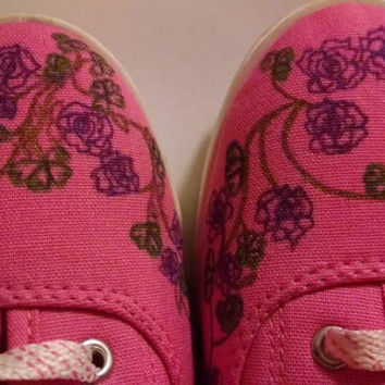 Ladies Pink Canvas Sneakers with Burgundy Roses and Clovers Hand Painted Onto Shoes Size 7 Valentines St Pattys Day