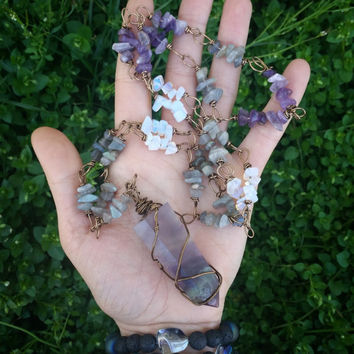 Ooak Fluorite crystal tower necklace, wire wrapped chain, labradorite  , amethyst, moonstone, crystal necklace