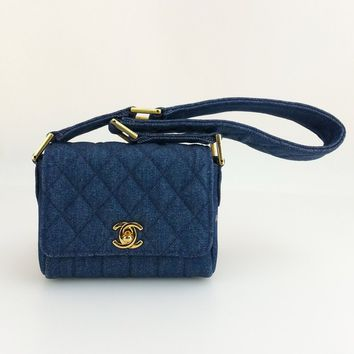 AUTH CHANEL Vintage Denim Dark Blue CC Quilted Mini Small Shoulder Bag Handbag