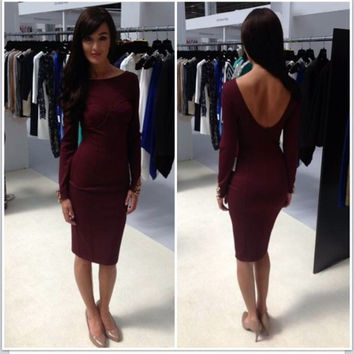 Backless Long Sleeve Midi Bodycon Dress