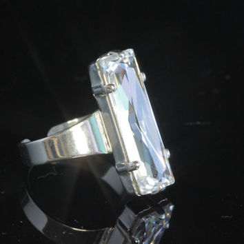 Swarovski Crystal Ring - Clear Baguette - Adjustable Silver Setting.  Cocktail Ring