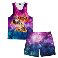 Space, Cats, and Pizza Tank and Shorts Rave Outfit