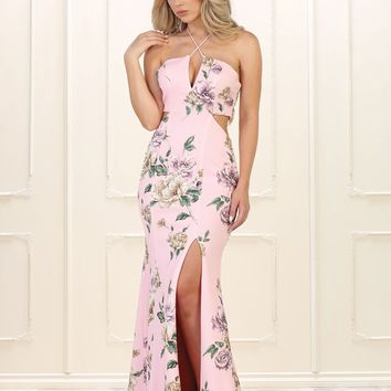 Long Prom Dress Formal Floral Print Evening Gown
