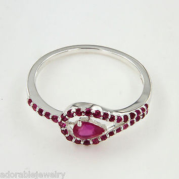 925 Sterling Silver Pear & Round Shape Pink Sapphire Solitaire With Accents Ring