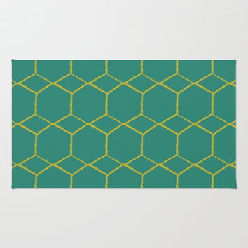 Geometric Teal V.2 Area & Throw Rug by C Designz