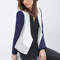 FOREVER 21 Colorblocked Blazer Cream/Navy