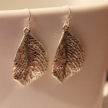 Silver leaf earrings, modern rustic silver nature earrings