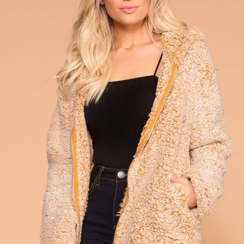 Chilled Out Mustard Sherpa Zip-Up Hoodie Jacket