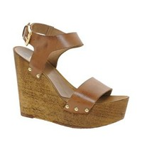 Faith Daija Leather Wedge Sandals at asos.com