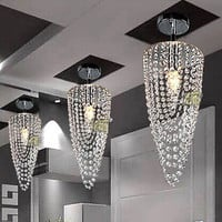 LED 1-light Chrome Modern crystal chandelier lighting D17*H45cm AC110V-256V Transparent color