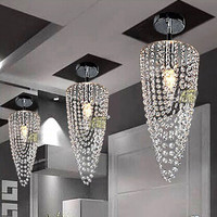 LED 1-light Chrome Modern Crystal Chandelier