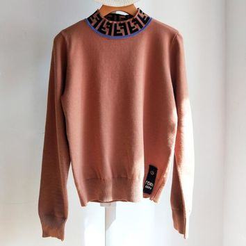 FENDI Autumn Winter Fashionable Women Slim Half High Collar Knit Sweater Top Sweatshirt Brown