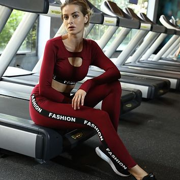 Heal Orange Fitness Wear Sports Long Sleeve Shirts Gym Leggings Yoga Clothes Women Workout Set Clothes Women Sportswear Woman
