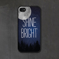 Navy Blue Shine Bright - Typography iPhone 4 Case - Christmas - Grey Hanukkah Stars Galaxy Constellation - Snow Winter Moon iPhone 4s Case