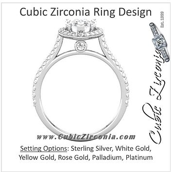 Cubic Zirconia Engagement Ring- The Maria (Pear Cut Halo-Style with Pave Band)