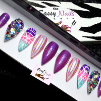 Mood changing ombre holographic treasure accents false nails, press on nails, stiletto nails, bling nails