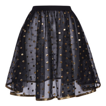 Short Skirt With Gold Dots Embroidered On Tulle And Gold Bias | Moda Operandi