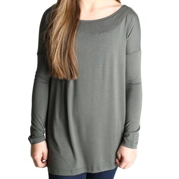 Army Green Piko Kids Long Sleeve Top