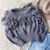 Cable & Feather Sweater in Gray
