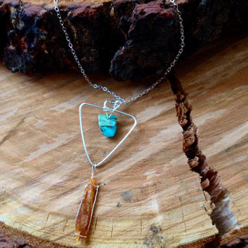 Raw Natural Orange Kyanite and Howlite Turquoise 925 Sterling Silver Pendant Triangle Dangling Necklace