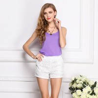 Brand LIVA purple Women 's Candy Colors Chiffon Shirt Trousers