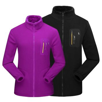 Men Women Full-zip Soft Polar Fleece Jacket Coat Top Windbreaker For Spring Autumn Winter Outdoor Classic Fit Hiking Camping