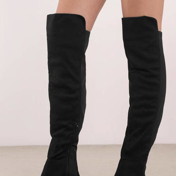 Maddy Faux Suede Over The Knee Boots