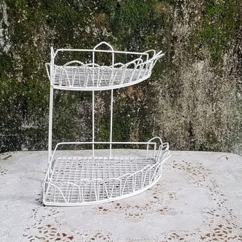 Vintage White Wire Corner Shelf Ruffled Edge French Country Style Bathroom Shelf Unit