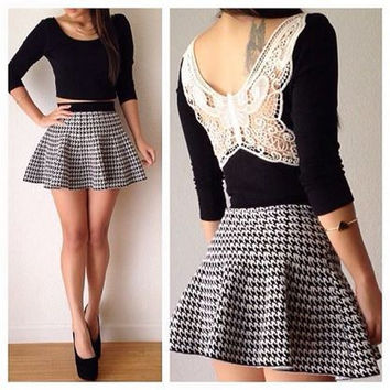 Butterfly Crochet Lace Cropped Top and Houndstooth Print Skirt Set