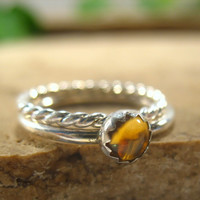 Stacker Rings Thicker Sterling Silver with Citrine Stone Twist Stacking Rings Collection
