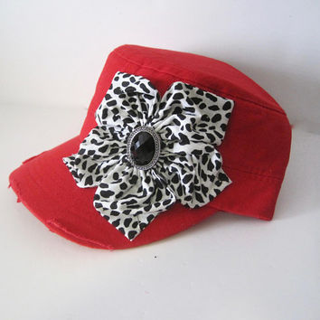 Women's Red Distressed Cadet Military Hat with Black and White Petal Flower and Black Accent Hat Caps Cadets Accessories