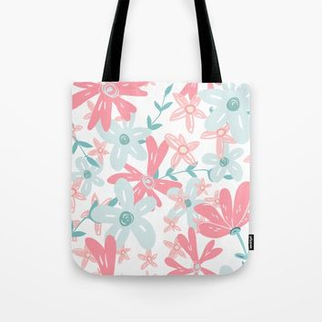 coral and mint flowers Tote Bag by sylviacookphotography