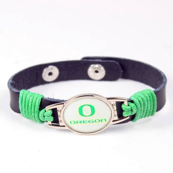 Crazy in March NCAA Leather Bracelet Oregon Ducks Basketball Team Mens Black Leather Bracelet For Women Men Fans Jewelry