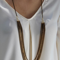 Long chain necklace, Multi Layer Necklace, Layered Necklace, Black & Gold Necklace, Long Bib Necklace, Multi Strand Necklace, Black Necklace