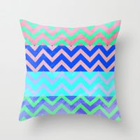 Chevron Spring Throw Pillow by M Studio