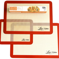 "Silicone Baking Mats, 3-Pc Set, 2-Half (16.5""x11.6"") & 1-Qtr (11.5""x8.5"") Sheets, by Ludy's Kitchen"