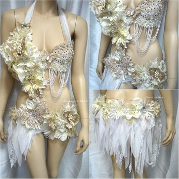 Gold and White Goddess Fairy Monokini Cosplay Dance Costume Rave Bra Halloween Burlesque Show Girl