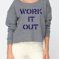 WORK IT OUT Off the Shoulder Raw Edge Cropped Gym Sweatshirt Athletic Grey / Navy Yoga Top Workout Sweatshirt Graphic Tee